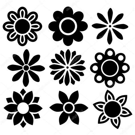 imagenes vectores de flores conjunto de iconos de vector aislado negro flores vector