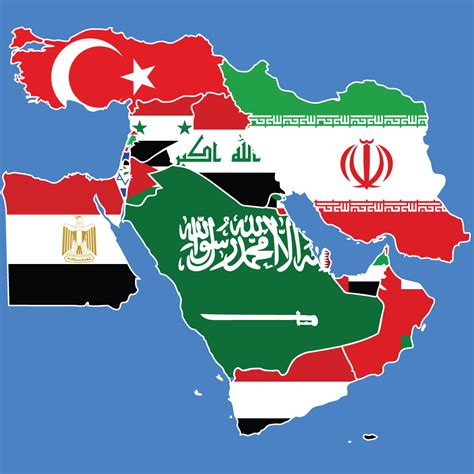 middle east map flag middle east