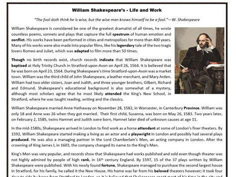 biography comprehension activity ks2 william shakespeare s life and work reading
