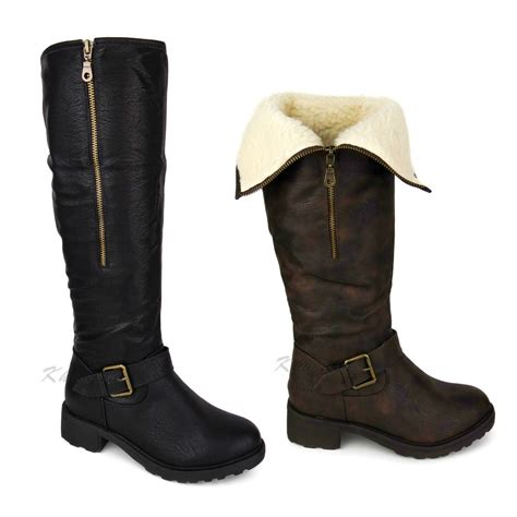 womens knee high fur lined leather flat low heel