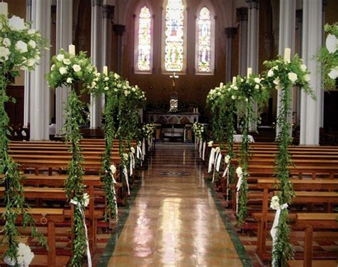 Wedding Ceremony Flowers Church by Church Wedding Decorations White Roses With Ruscus And