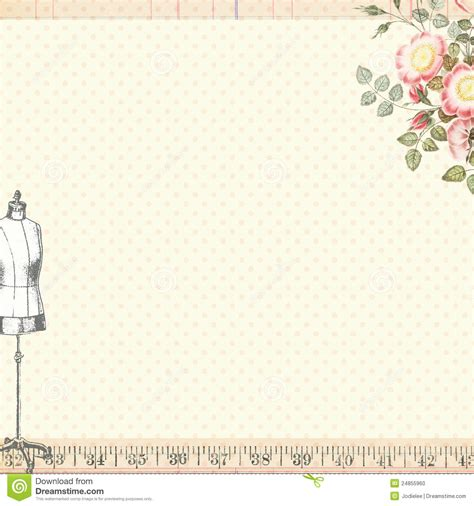 shabby chic sewing craft background with body form stock