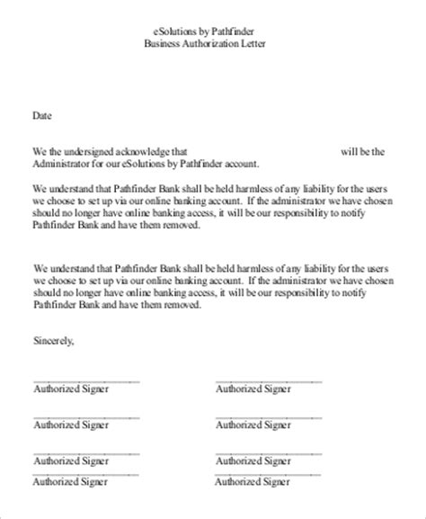 authorization letter template for business sle bank letter to remove signature authorization