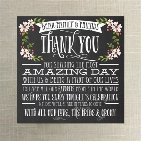 instant chalkboard style thank you place card