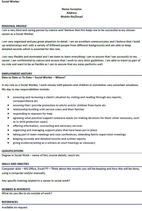 social worker cv exle icover org uk