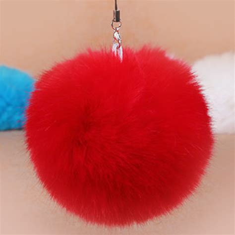 Best Quality Pompom Silver pom pom fur key chain fashion 8cm fluffy fur car keychain silver tone bag charm key
