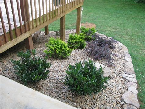 Decked Garden Ideas Landscaping Around A Deck Lightsonthelake Rock Garden