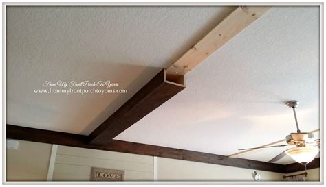 wood beam ceiling how we made our diy wood beams stains on the side and