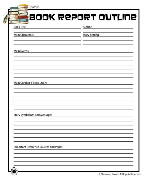 book reports for 5th grade book report printables printable book report
