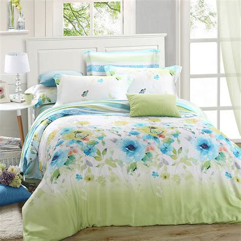 queen quilt bedding luxury green blue floral bedding set queen king size silk