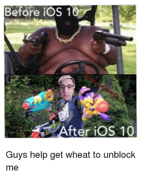 before ios 10 fter ios 10 guys help get wheat to unblock