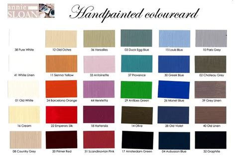 updated color card from sloan chalk paint