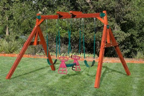 swinging on a swing set double a frame swing set by west texas swing