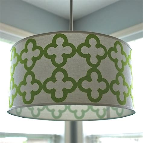 quatrefoil drum shade pendant light teal and lime by