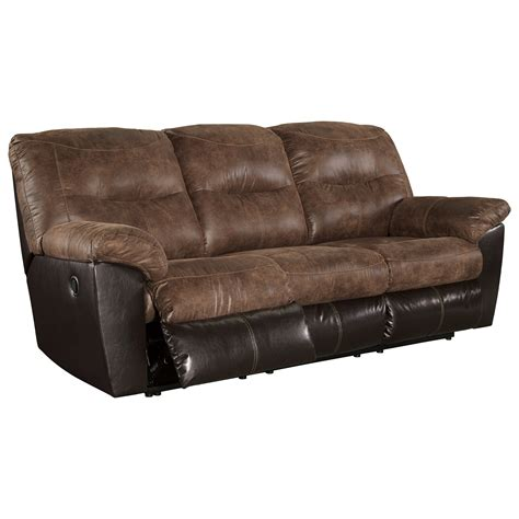 signature leather reclining sofa signature design by follett 6520288 two tone faux