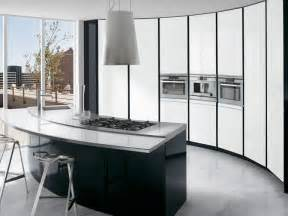 Curved Island Kitchen Designs by Black And White Kitchen With Curved Island Elektravetro