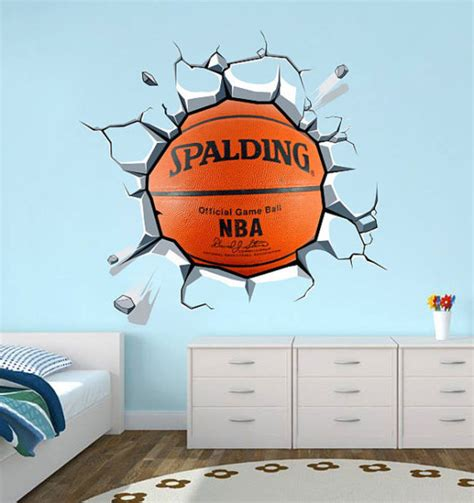 sport wall stickers wandtattoo wandtattoo aufkleber basketball effekt wand