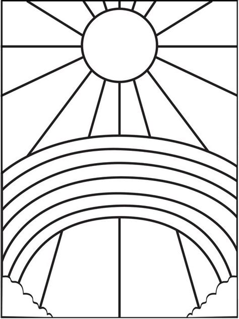 sun and sun and rainbow coloring pages