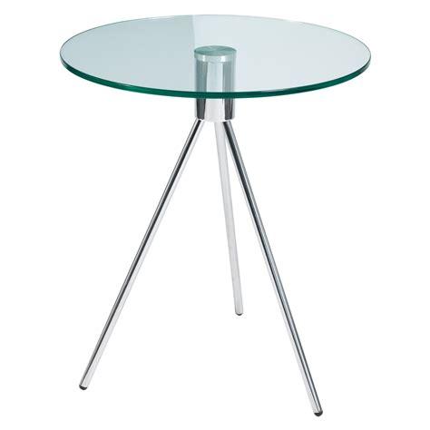 tripod glass side table clear   dwell