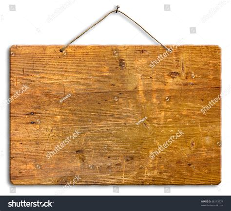 Wood String - empty wooden signboard hanging string nail stock photo