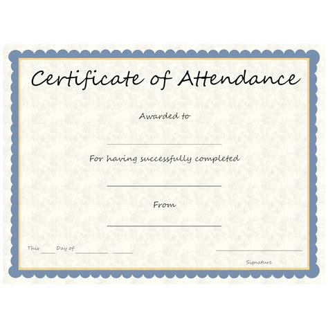 attendance certificate template free certificate of attendance