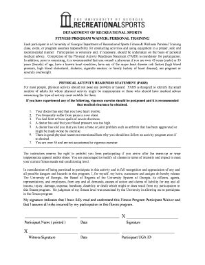 Post Training Evaluation Form Templates Fillable Printable Sles For Pdf Word Pdffiller Workout Waiver Template