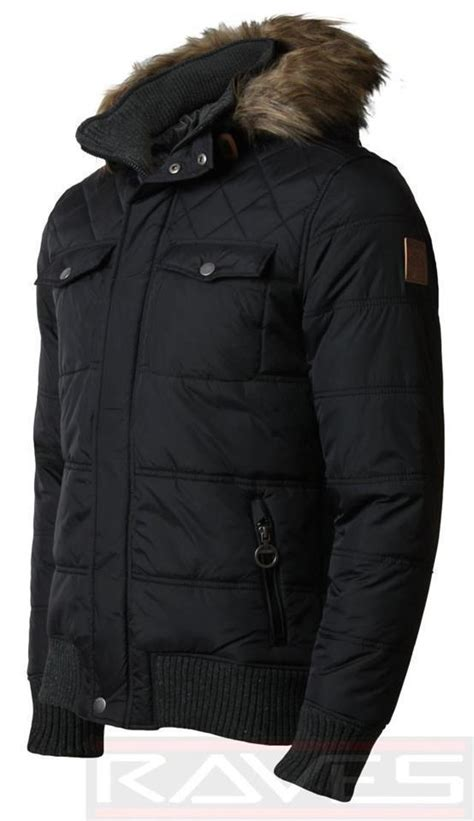 Mens Quilted Parka by Mens Padded Quilted Parka Jacket Threadbare Faux Fur