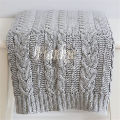grey cable knit baby blanket personalised cable knit blanket grey by my 1st years