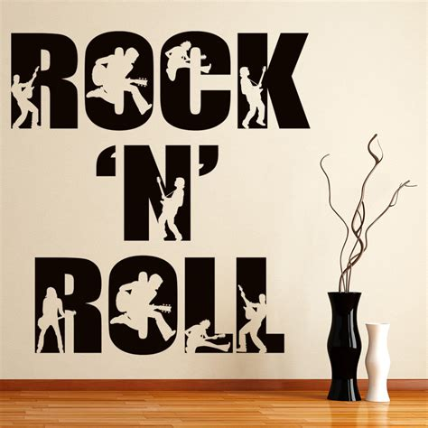 rock  roll wall sticker band  wall decal bedroom