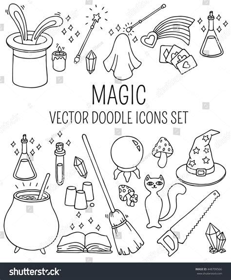 magic doodle set doodle vector magic icons stock vector