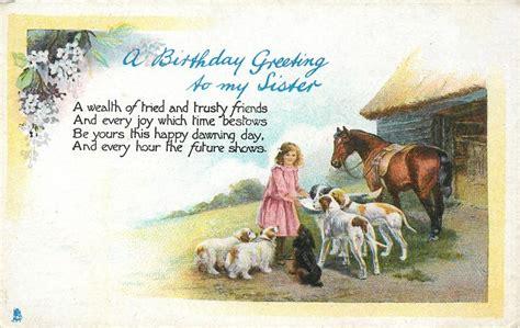 birthday greeting   sister girl feeding dogs horse barn  tuckdb