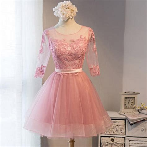 long sleeve pink lace short homecoming prom dresses