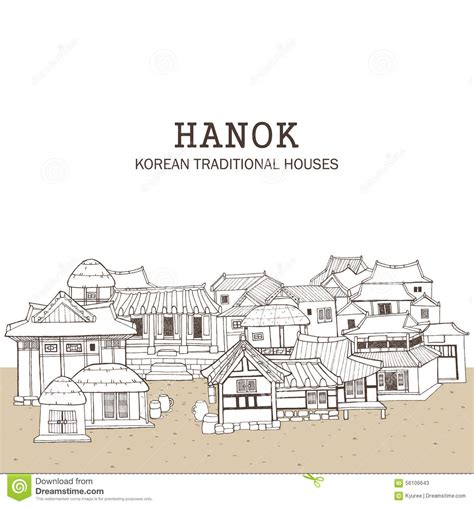 hanok house floor plan korean traditional houses e stock vector image 56106643