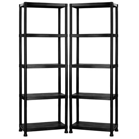 5 tier black plastic heavy duty shelving racking storage