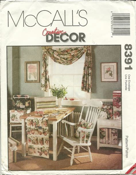 sewing home decor mccall s sewing pattern 8391 home decor swag office sewing
