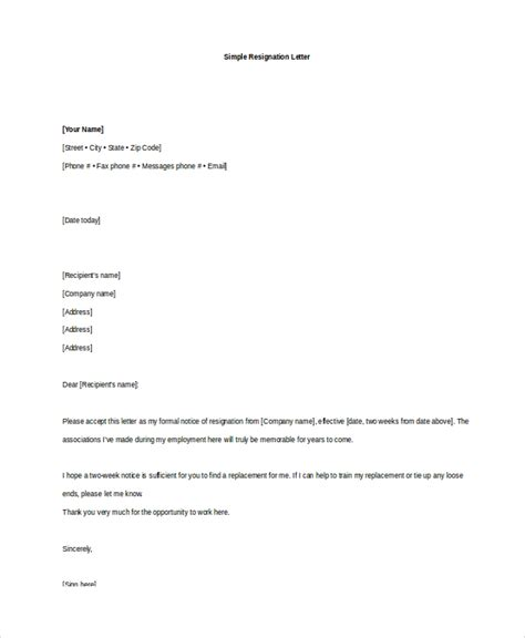 simple resignation letters immediate resignation letter due to pregnancy immediate resignation