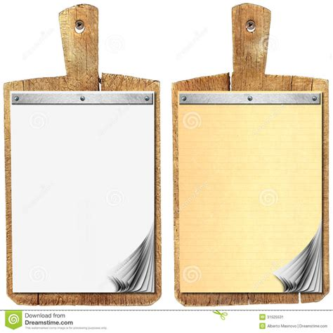 wood cutting templates blank notebook on wood cutting board stock image