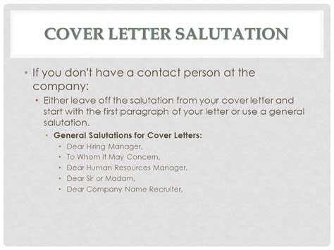 cover letter greeting to human resources cover letters ms batichon ppt