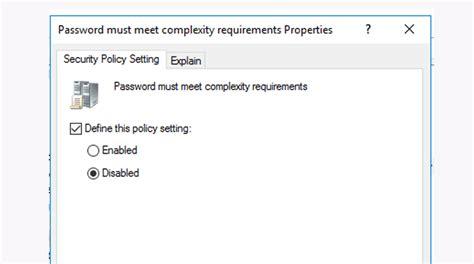 remove password complexity windows server  avoiderrors