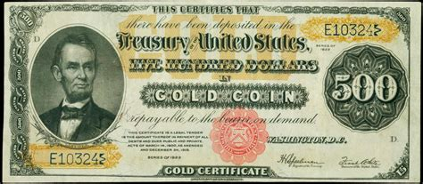 Who Makes The Paper For Us Currency - 1922 500 dollar gold certificate world banknotes coins