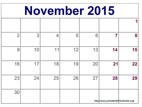 free printable monthly calendars november 2015 november 2015 one page calendar calendar template 2016