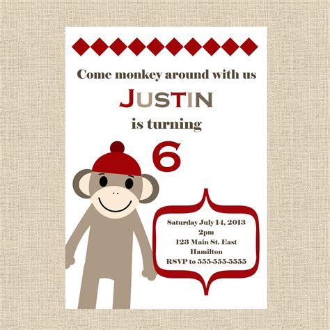 sock monkey invitation template sock monkey birthday invitations dancemomsinfo