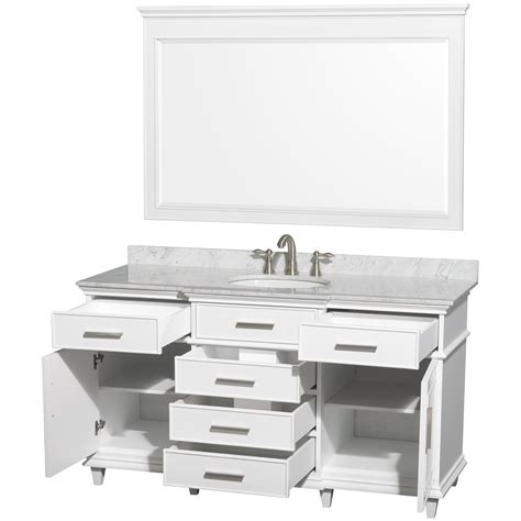 Bathroom Vanities 60 Single Sink Ackley 60 Inch White Finish Single Sink Bathroom Vanity Marble Top