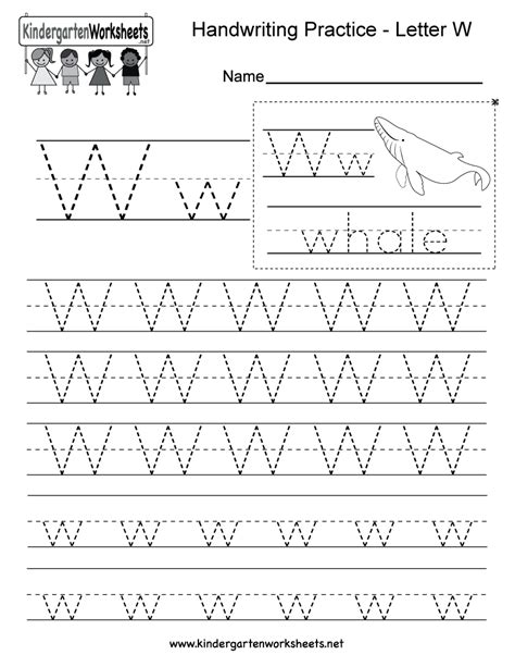 W Worksheets by Handwriting Worksheets For Kindergarten Letters Abcs