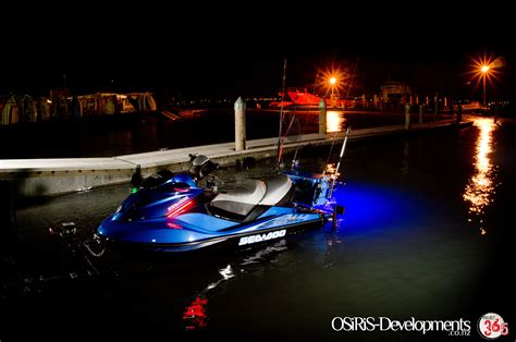 jets with lights blue led rib light in the drain bung of a jetski kitted