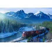 Canada Albert Morning Mountain Forest Railroad Train HD Wallpaper