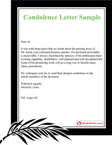 What To Write In A Sympathy Letter Grief Letter Template