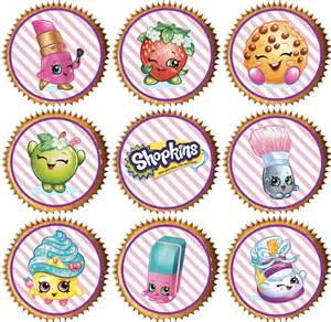 Cupcake Toppers 24 X Shopkins Precut Edible Wafer Cupcake Toppers Ebay