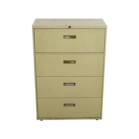 90 Off Four Drawer Tan Lateral File Cabinet Storage Filing Cabinet Lateral
