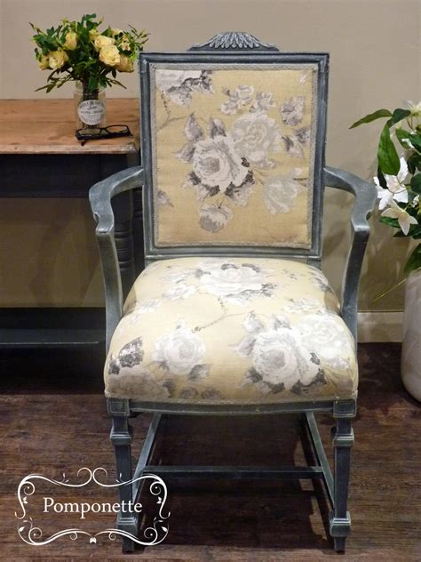 chalk paint upholstered chair upholstered chair by pomponette vintage painted furniture
